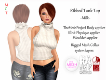 [rua modena] Ribbed Tank Top - Milk (appliers for Maitreya, TheMeshProject Body, Slink Physique, WowMeh & Omega)