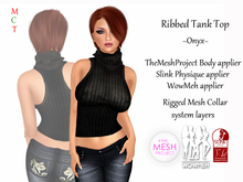 [rua modena] Ribbed Tank Top - Onyx (appliers for Maitreya, TheMeshProject Body, Slink Physique, WowMeh & Omega)