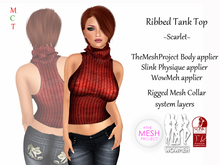 [rua modena] Ribbed Tank Top - Scarlet (appliers for Maitreya, TheMeshProject Body, Slink Physique, WowMeh & Omega)