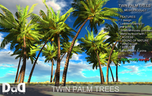 NEW! TWIN PALM TREES 100% MESH -WITH LEAVES BLOWING IN THE WIND - COPY -