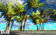 NEW! TWIN PALM TREES 100% MESH -WITH LEAVES BLOWING IN THE WIND - TRANSFER -