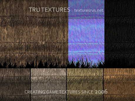 16 Seamless Thatched Roofing 3D Material Textures Set 3 Diffuse Normal Specular 1024 Pixels
