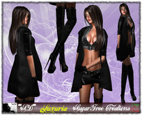 **SD** -Luxuria - ( Mesh Rigged Outfit ) High Heels Boots - Black Leather