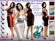 !FP! Classic Outfit Pencil Dress and High Heels in 8 Colors - Physique Compatible