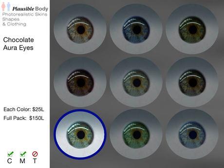Chocolate Aura Eyes - Blue Green
