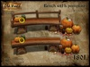 Wood bench with pumpkins  - Old World - Garden decorations - Rustic Furniture - Halloween