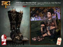 FDD Voodoo Sandals - rigged mesh for Slink Flat Feet Black