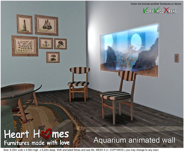 <HEART HOMES> Aquarium Animated Wall (Mod)