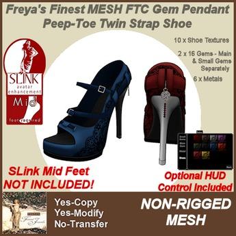 Freya's Finest SLink Mid Gem Pendant Peep-Toe Twin Strap Shoes
