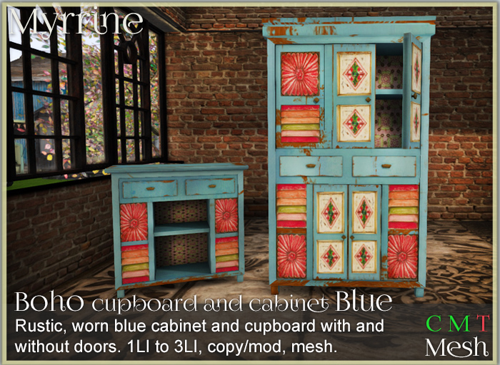 *old item discount* Boho cabinet and cupboard set - Blue