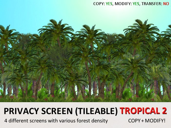 *DQ* PRIVACY SCREENS - TROPICAL 2 (COPY/MOD/TILEABLE)