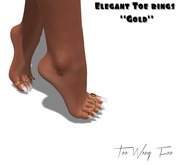 .::TWF::. Elegant Toe Rings for TheMeshProject Feet (Ouch) Gold