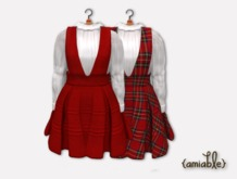 {amiable}Mesh Tuck Line Salopette Girly Dress&Blouse03