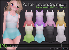 [M] Kemono Pastel Layers Swimsuit [for ABC School Swimsuit ]