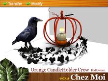 Halloween Orange CandleHolder Crow ♥ NEW Chez Moi