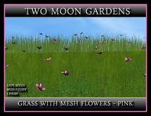 MESH GRASS WITH MESH FLOWERS - PINK*
