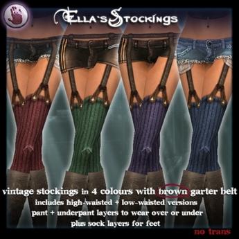 *League* Ella Stockings-Bolds-Brown Garter
