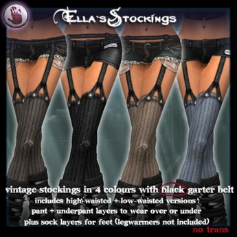 *League* Ella Stockings-Naturals-Black Garter