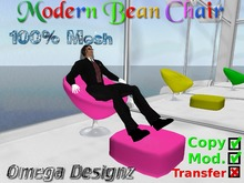 Modern Bean Chair  (Pink/Mesh)