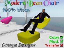 Modern Bean Chair  (Yellow/Mesh)