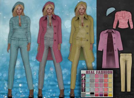 REAL FASHION Coat, top, pants and beret set