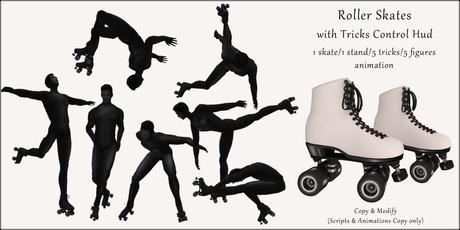 AvaBoy - Roller Skates with Tricks Control Hud WHITE