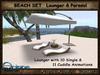 RATTAN BEACH SET Lounger & Parasol light brown - Outdoor & Garden - Wicker