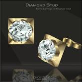 Chop Zuey Men's Diamond Earrings - Gold - Pair