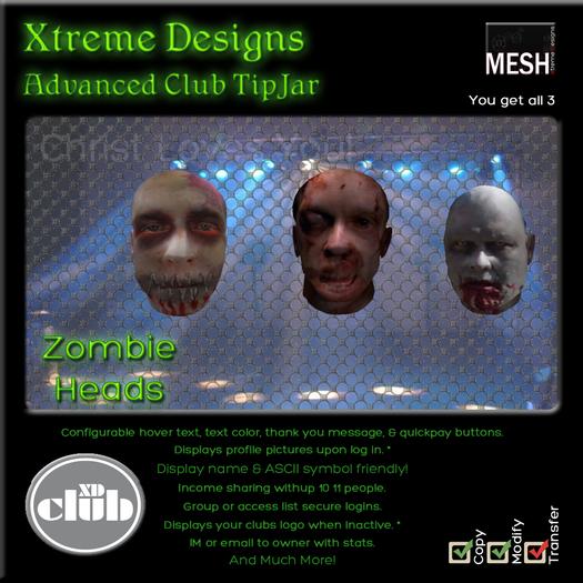 Copyable % Splitting Club Login TipJars - Zombie Heads -