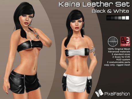 :)(: Kaina Leather set  ( Mini Skirt & Top) - Mesh - Black & White  ( Classic Avatars + EVE Avatars )
