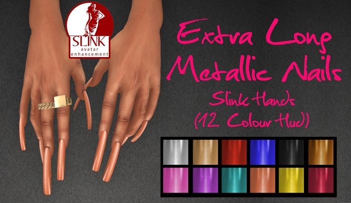 IAF Extra Long Metallic Nails (Slink Hands) (Flat XXS)