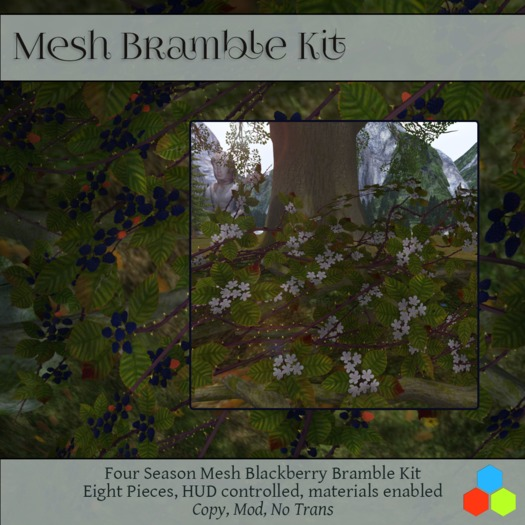 Blackberry Bramble patches, Mesh with materials