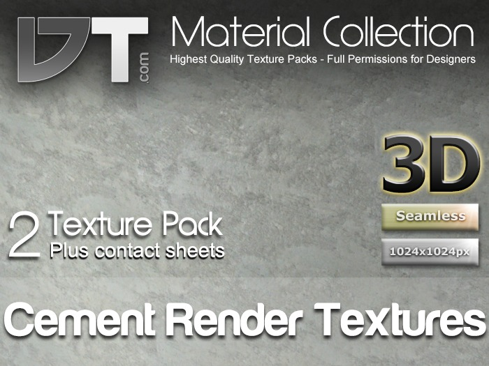2 Cement Render Textures - Full Perm - DT Material Collection