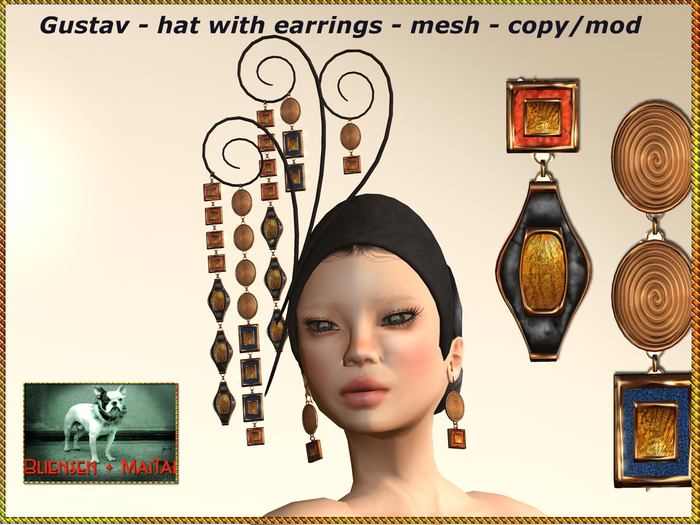 Bliensen + MaiTai - Gustav - hat / fascinator with earrings