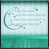 *~LT~* God Bless the Moon Wall Art Decal