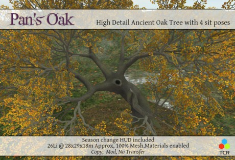 Pan's Oak 100% Mesh Oak Tree with Materials and sit poses *NEW FALL 14*