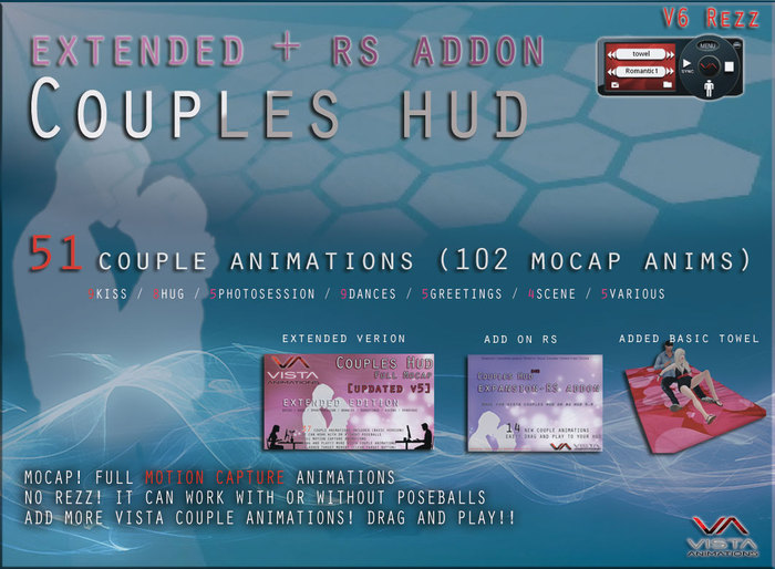 COMBO VISTA ANIMATIONS-MOCAP COUPLES HUD WITH ADDON RS-V6