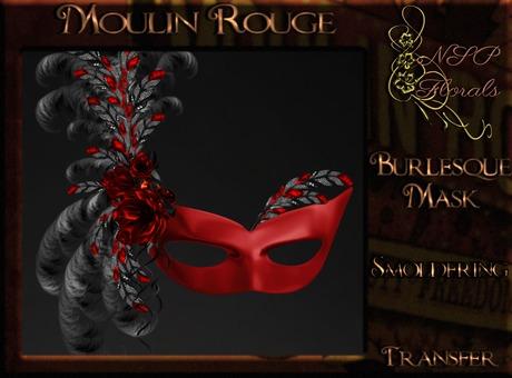 NSP Moulin Rouge Burlesque Mask (Smoldering) boxed
