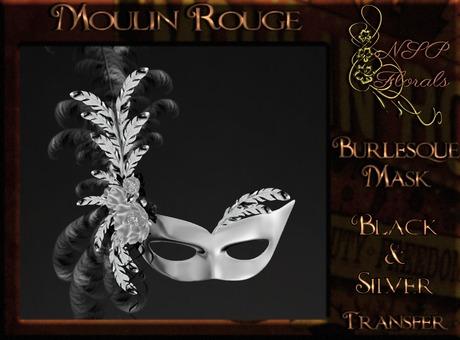 NSP Moulin Rouge Burlesque Mask (Black & Silver) BOXED