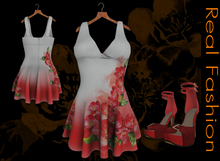 "REAL FASHION ""Red roses"" dress and shoes"