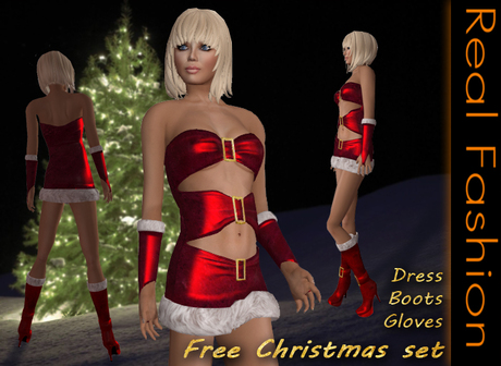 REAL FASHION Free christmas set - Dress, boots and gloves