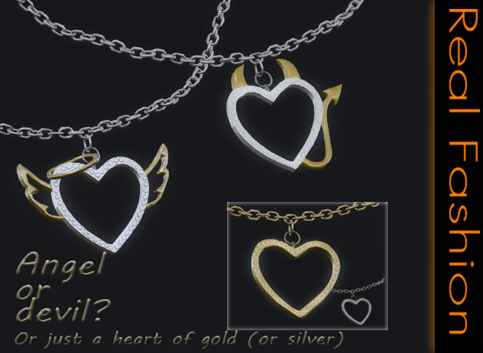 REAL FASHION - Angel or devil heart necklace