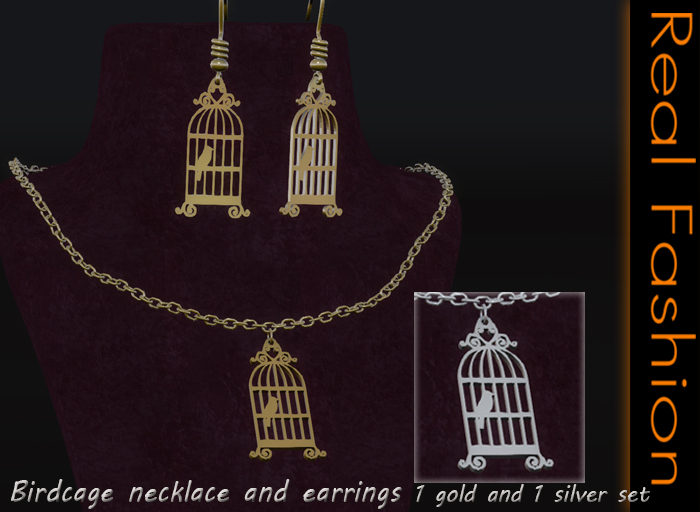 REAL FASHION - Birdcage necklace and earrings