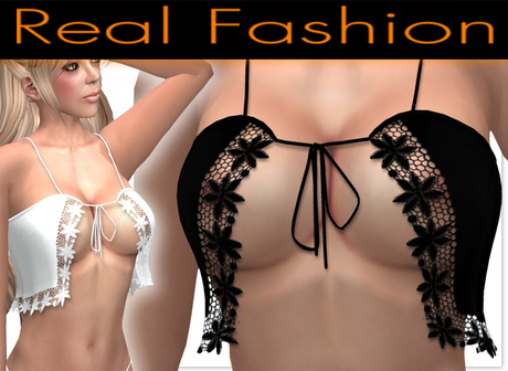 """Sexy top """"flirty"""" black and white lace set - Mesh rigged"""