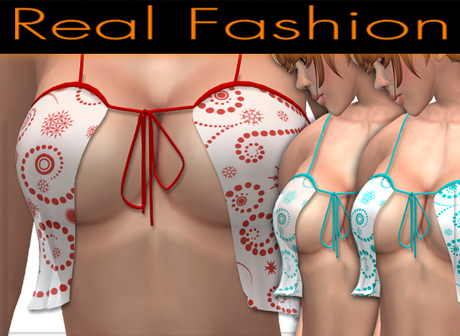 "Sexy top ""flirty"" Snowflakes cyan and red set - Mesh rigged"