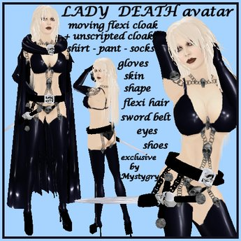 Lady Death sexy avatar vampire goth warrior flexi cloak moving with belt skull NEW
