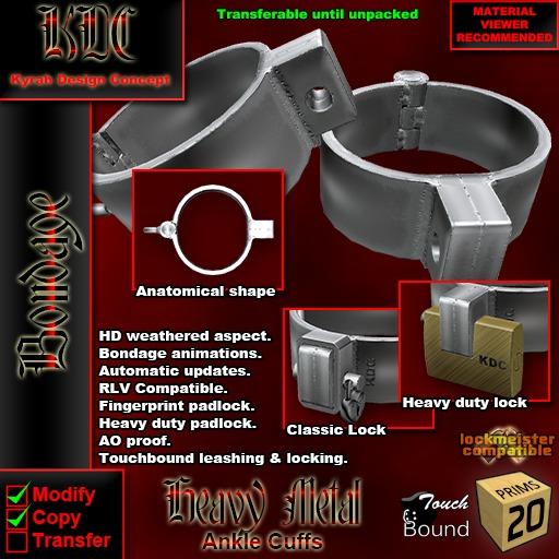 KDC Heavy Metal ankle cuffs