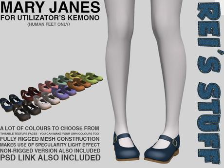 Rei's Stuff - Mary Janes for Kemono Humanfeet