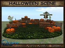 Halloween Scene - Pumpkin, Hay bale, Scarecrow, Furniture - Mesh & Sculps - Promo Price -