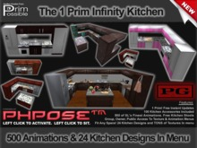 1 Prim Infinity Kitchen PG 500 Animations & 2 Free Bar Stools